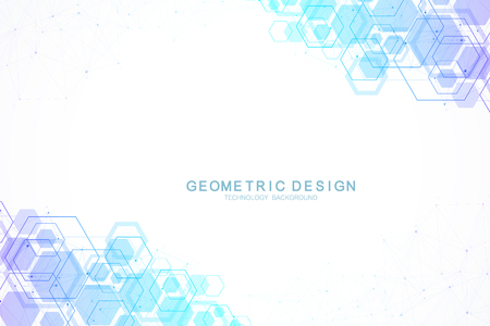Abstract hexagonal background with waves. Hexagonal molecular structures. Futuristic technology background in science style. Graphic hex background for your design. Vector illustration.