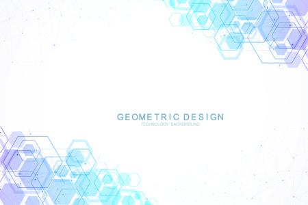 Abstrait hexagonal avec des vagues. Structures moléculaires hexagonales. Fond de technologie futuriste dans le style scientifique. Arrière-plan graphique hexagonal pour votre conception. Illustration vectorielle. Vecteurs