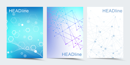 Modern vector templates for brochure, cover, banner, flyer, annual report, leaflet. Abstract art composition with connecting lines and dots. Digital technology, science or medical concept  イラスト・ベクター素材