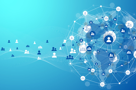 Global structure networking and data connection concept. Social network communication in the global computer networks. Internet technology. Business. Science. Vector illustration Vectores