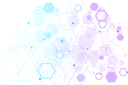 Abstract hexagonal background. Hexagonal molecular structures. Futuristic technology background in science style. Graphic hex background for your design. Vector illustration.
