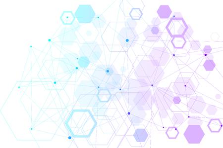 Abstrakter sechseckiger Hintergrund. Hexagonale Molekülstrukturen. Futuristischer Technologiehintergrund im Wissenschaftsstil. Grafischer Hexhintergrund für Ihr Design. Vektor-Illustration.