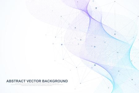 Abstrakter Plexushintergrund mit verbundenen Linien und Punkten. Wellenfluss. Geometrischer Effekt des Plexus Big Data mit Verbindungen. Linienplexus, minimales Array. Digitale Datenvisualisierung. Vektor-Illustration Vektorgrafik