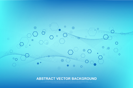 Abstract medical background DNA research, molecule, genetics, genome, DNA chain. Genetic analysis art concept with hexagons, lines, dots. Biotechnology network concept molecule, vector illustration