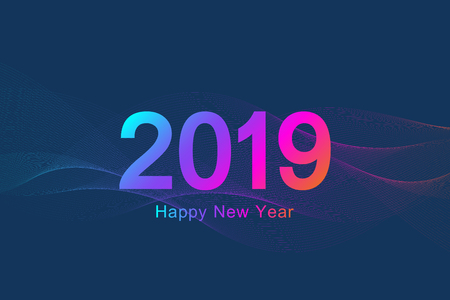 Merry Christmas and Happy New Year 2019 greeting card. Modern futuristic template for 2019. Digital data visualization. Business technology concept. Vector illustration