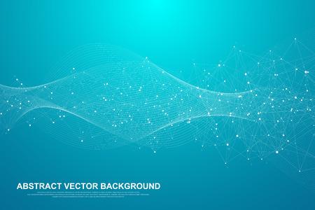 Splot streszczenie tło z połączonych linii i kropek. Efekt geometryczny splotu Big data ze związkami. Splot linii, minimalny szyk. Wizualizacja danych cyfrowych. Ilustracja wektorowa.