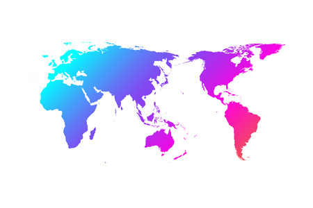Colorful world map vector gradient design, Asia in center. Ilustracje wektorowe