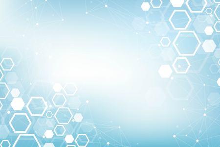 Fondo médico abstracto Investigación de ADN, molécula, genética, genoma, cadena de ADN. Concepto de arte de análisis genético con hexágonos, líneas, puntos. Molécula de concepto de red de biotecnología, ilustración vectorial.