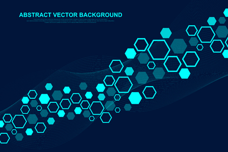 Abstract medical background DNA research, molecule, genetics, genome, DNA chain. Genetic analysis art concept with hexagons, waves, lines, dots. Biotechnology network concept molecule, vector Illustration