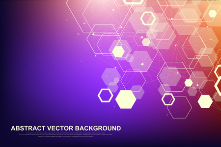Abstract hexagonal background. Futuristic technology background in science style. Graphic hex background for your design. Vector illustration.