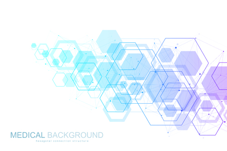 Abstract medical background DNA research, molecule, genetics, genome, DNA chain. Genetic analysis art concept with hexagons, waves, lines, dots. Biotechnology network concept molecule vector