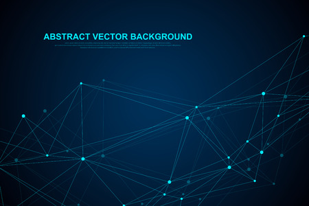 Futuristic abstract vector background blockchain technology. Peer to peer network business concept. Global cryptocurrency blockchain vector banner. Wave flow. Ilustração