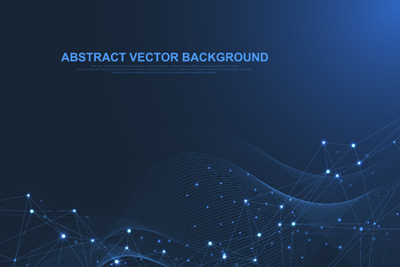 Futuristic abstract vector background blockchain technology. Peer to peer network business concept. Global cryptocurrency blockchain vector banner. Wave flow. Illustration