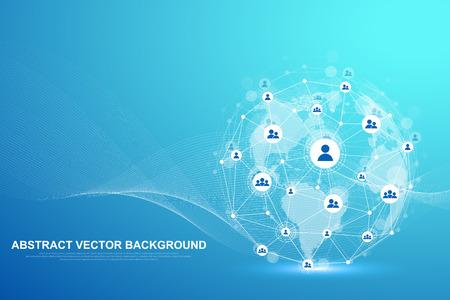Rete della struttura globale e concetto di connessione dati. Comunicazione di social network nelle reti informatiche globali. Tecnologia Internet. Attività commerciale. Scienza. Illustrazione vettoriale Vettoriali