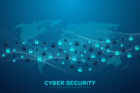 Cyber security concept or information network protection. Data protection concept. Future cyber technology web services, web banner. Vector illustration Vector Illustration