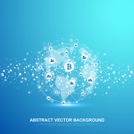 Futuristic abstract vector background blockchain technology. Deep web background. Peer to peer network business concept. Global cryptocurrency blockchain vector banner. Wave flow. Vecteurs