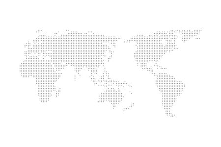 Grey halftone dotted world map vector illustration flat design asia in center Çizim