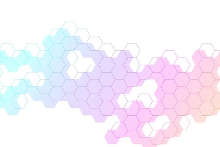 Hexagons abstract background with geometric shapes. Science, technology and medical concept. Futuristic background in science style. Graphic hex background for your design. Vector illustration. Çizim
