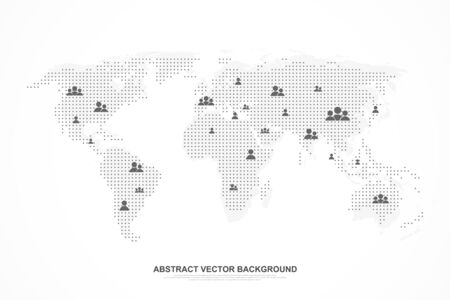 Global network connection concept. Social media abstract background internet communication. Big data network connection. SNS. Business presentation for your design and text. Vector illustration Foto de archivo - 134555780