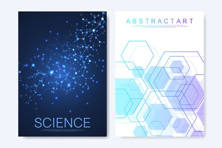 Modern vector templates for brochure, cover, banner, flyer, annual report, leaflet. Hexagonal molecular structures. Futuristic technology background in science style. Graphic hex background