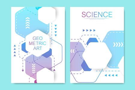 Modern vector templates for brochure, cover, poster, banner, flyer, annual report. Abstract art composition with hexagons, connecting lines and dots. Digital technology, science or medical concept