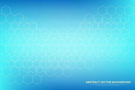 Scientific molecule background DNA double helix vector illustration with shallow depth of field. Mysterious wallpaper or banner with a DNA molecules. Health care and science innovation pattern