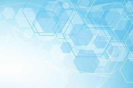 Zeshoeken abstracte achtergrond met geometrische vormen. Wetenschap, technologie en medisch concept. Futuristische achtergrond in wetenschappelijke stijl. Grafische hexuitdraaiachtergrond voor uw ontwerp. Vector illustratie.