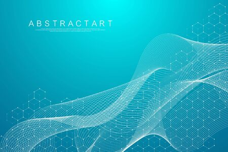Abstract hexagonal boxes background. Molecular structure with hexagons lines and dots. Medical banner template design. Science and technology concept. Vector illustration. Illustration