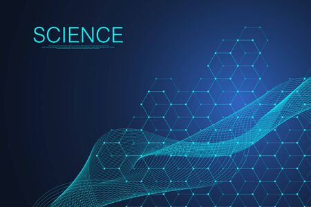 Scientific molecule background for medicine, science, technology, chemistry. Science template wallpaper or banner with a DNA molecules. Dynamic wave flow DNA. Molecular vector illustration