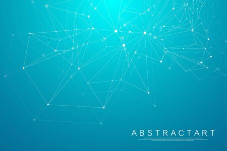 Polygonal science background with connecting dots and lines. Abstract plexus geometric effect. Digital data visualization background. Vector illustration.