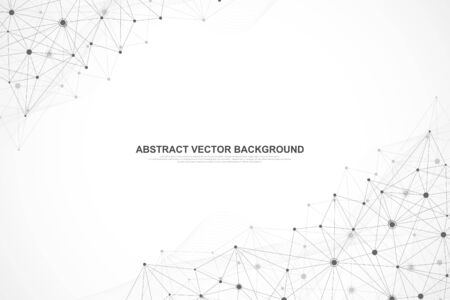 Abstract plexus background with connected lines and dots. Plexus geometric effect. Digital data visualization. Futuristic technology style low-poly element for design. Vector illustration