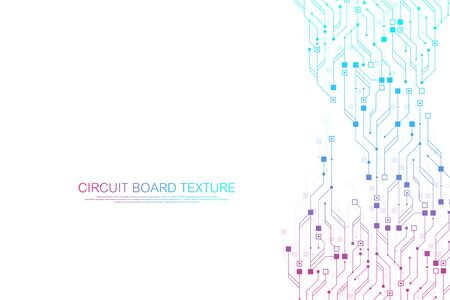 Technology abstract circuit board texture background. High-tech futuristic circuit board banner wallpaper. Engineering electronic motherboard vector illustration. Technological communication concept.