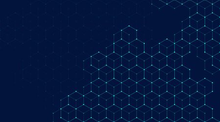 Abstract lines and dots connect background with hexagons. Hexagons connection digital data and big data concept. Hex digital data visualization. Vector illustration. Illustration