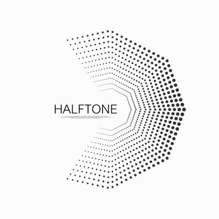 Halftone dots in the hexagon form. Halftone dotted pattern comic book background with circles. Vector illustration. Illustration
