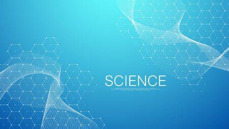 Streszczenie tło medyczne badania DNA, cząsteczka, genetyka, genom, łańcuch DNA. Koncepcja sztuki analizy genetycznej z sześciokątami, falami, liniami, kropkami. Biotechnologia cząsteczka koncepcja sieci, wektor.