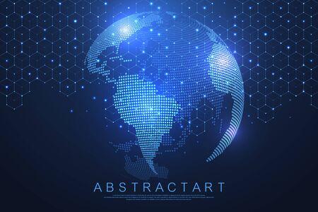 Koncepcja połączenia sieci globalnej. Wizualizacja dużych zbiorów danych. Komunikacja społecznościowa w światowych sieciach komputerowych. Technologia internetowa. Biznes. Nauki ścisłe. Ilustracja wektorowa. Ilustracje wektorowe