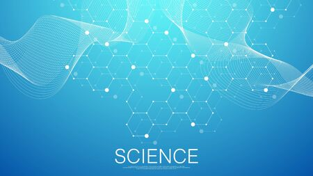 Scientific molecule background for medicine, science, technology, chemistry. Science template wallpaper or banner with a DNA molecules. Dynamic wave flow DNA. Molecular vector illustration.