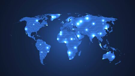 Technology abstract world map vector illustration circuit board texture background. futuristic circuit board banner wallpaper. Digital data. Engineering electronic motherboard. Minimal array Big Data Ilustracje wektorowe