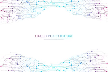 Technology abstract circuit board texture background. High-tech futuristic circuit board banner wallpaper. Digital data. Engineering electronic motherboard. Minimal array Big Data. Vector illustration