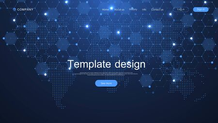 Website template design. Asbtract scientific background with World data connecting network and communications concept with map dots innovation pattern. Modern landing page for websites, vector