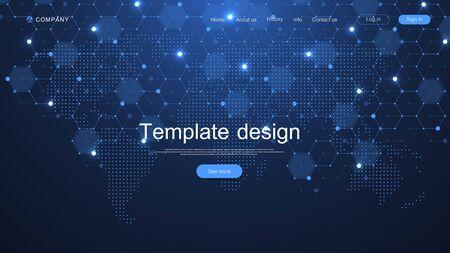 Website-Template-Design. Asbtract wissenschaftlicher Hintergrund mit World Data Connecting Network und Kommunikationskonzept mit Kartenpunkt-Innovationsmuster. Moderne Landingpage für Websites, Vektor