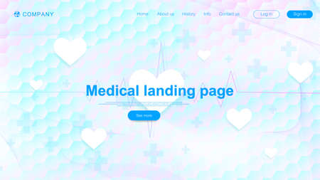Medical landing page template design. Abstract health care banner template. Asbtract scientific background with hexagons. Innovation pattern. Vector illustration.
