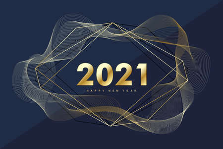 2021 Happy New Year. Merry Christmas and Happy New Year 2021 greeting card. Celebrate party template for 2021. Vector illustration. Illusztráció