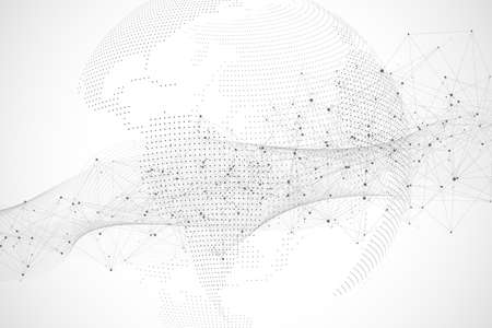 Global network connections with points and lines. Wireframe background. Abstract connection structure. Polygonal space background, illustration Stock fotó