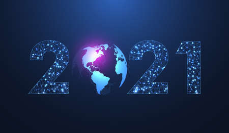 Modern futuristic technology template for Merry Christmas and Happy New Year 2021 with connected lines and dots. Plexus geometric effect. Global network connection illustration.