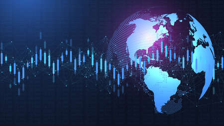 Stock market or forex trading graph in futuristic concept for financial investment or economic trends business idea. Financial trade concept. Stock market and exchange illustration.