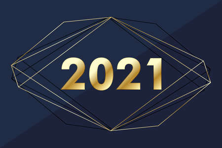 2021 Happy New Year. Merry Christmas and Happy New Year 2021 greeting card. Celebrate party template for 2021 illustration.