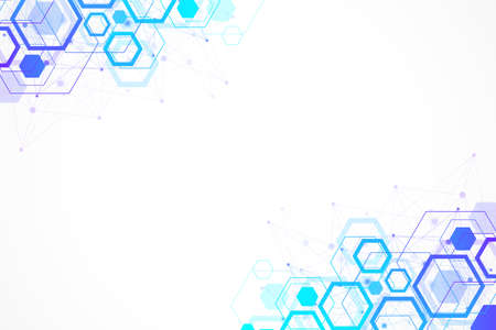 Abstract hexagonal background with waves. Hexagonal molecular structures. Futuristic technology background in science style. Graphic hex background for your design, illustration Stock fotó