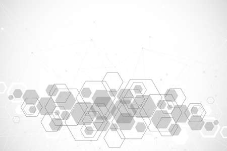 Abstract medical background. DNA research. Hexagonal structure molecule and communication background for medicine, science, technology, illustration. Stock fotó