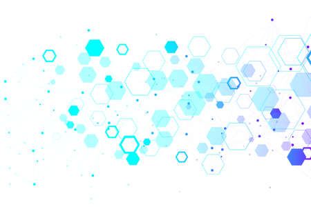 Abstract medical background DNA research, molecule, genetics, genome, DNA chain. Genetic analysis art concept with hexagons, lines, dots. Biotechnology network concept molecule, illustration.